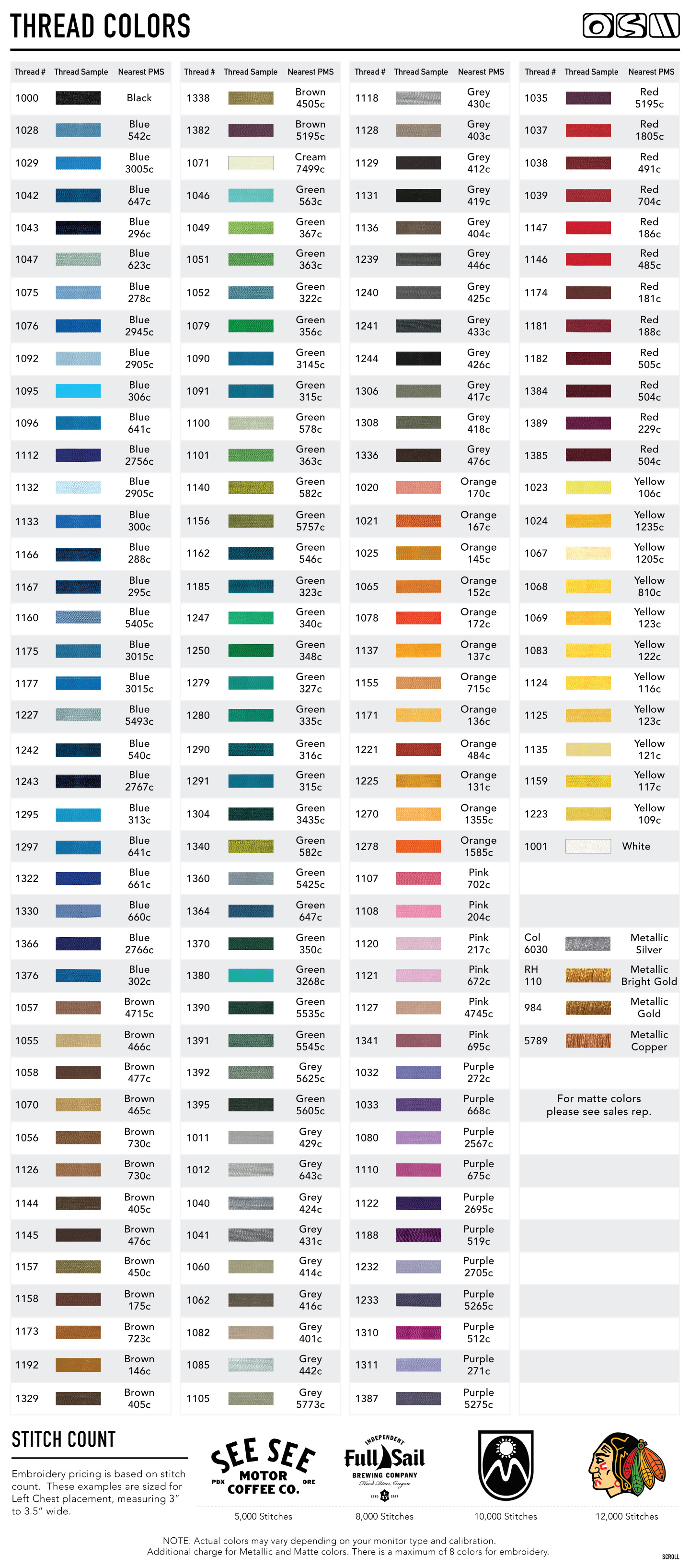 Resources embroidery thread color chart